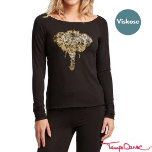 Shirt - langer Arm, Print gold ELEFANT